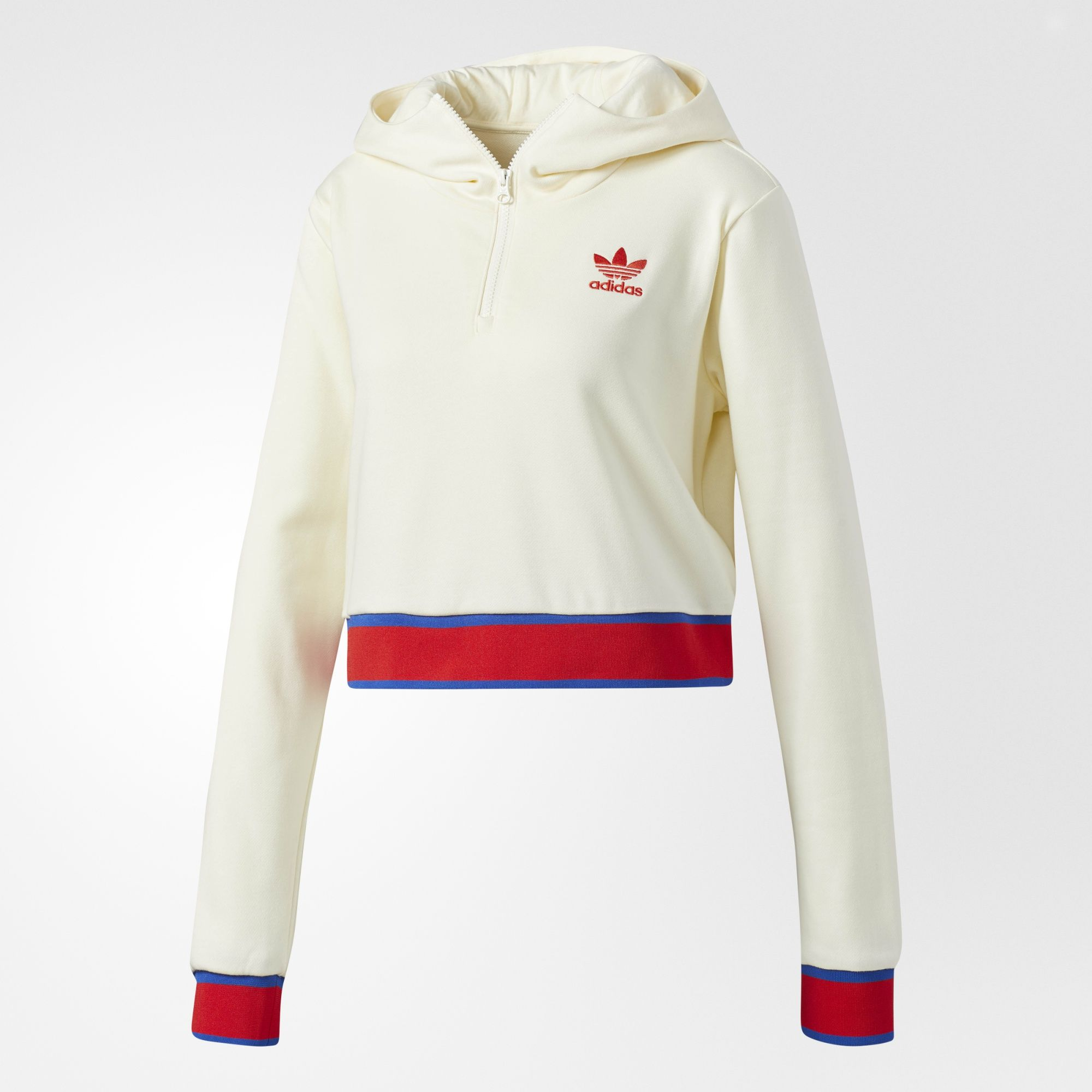 Adidas Original Embellished Arts Womens Cropped Hoodie CV9437 Cream White Short Jacket Graphic Hoody