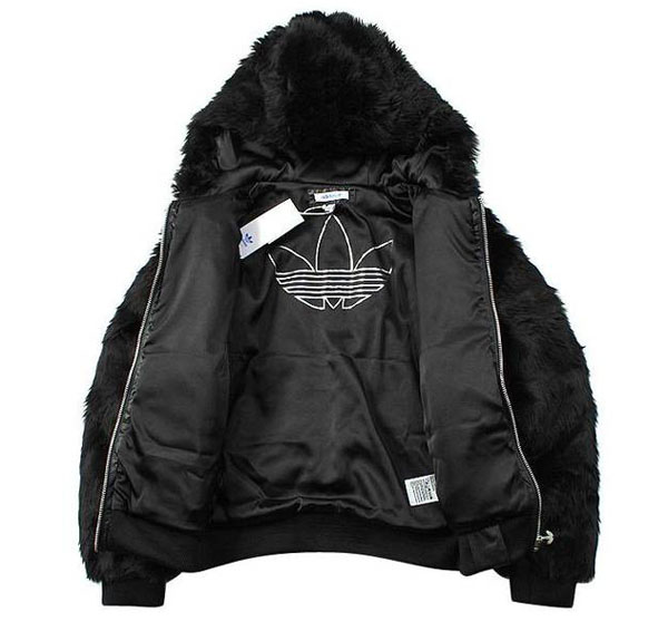 Adidas Originals Womens Black Faux Fur Hoodie O57918 Jakcet Velvet Winter Coat