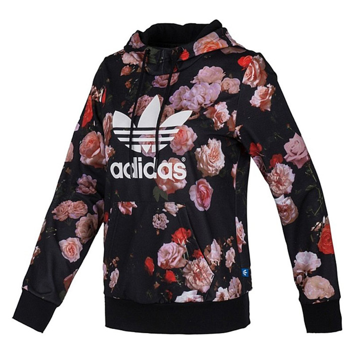Original Adidas Women's Trefoil Allover Floral Rose Hoodie F79297 Jacket Sweats Trackt Top