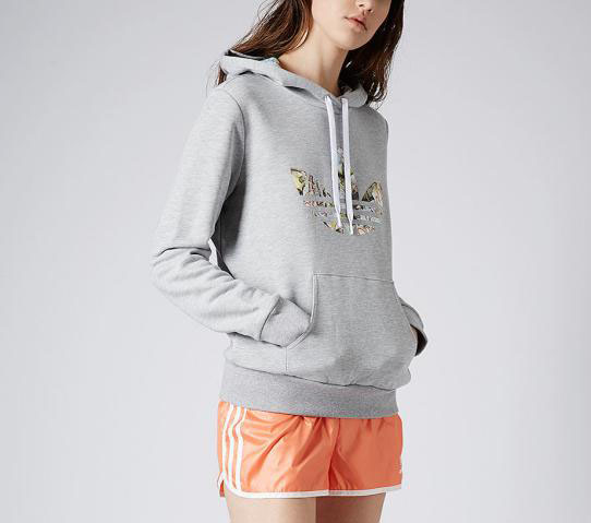 Adidas Original Womens Alpha Ropes Grey M32301 Logo Hoodie Trefoil Fleece