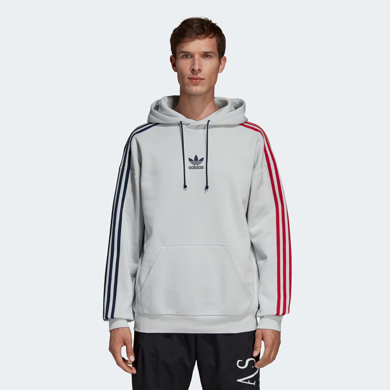 Adidas 3-Stripes Hoodie Clear Grey Sportive Sweatshirt EC3673 Hoody