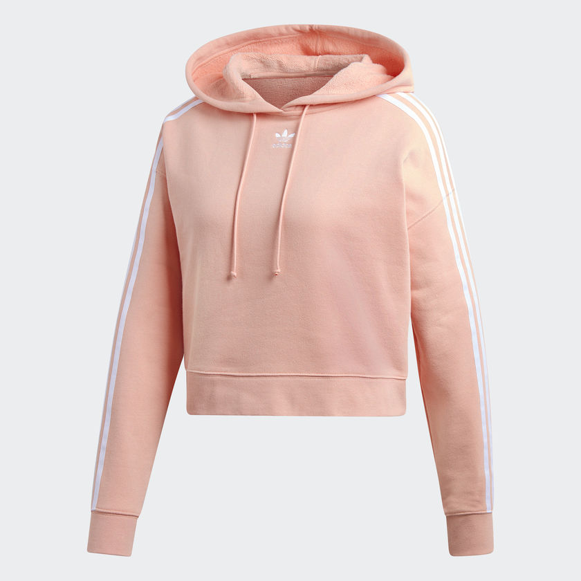 Adidas Womens Cropped Hoodie Pink DX2161 Miki...