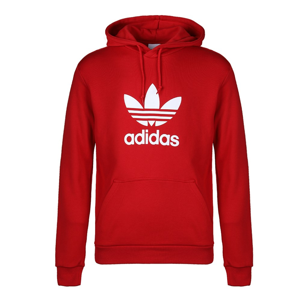 Adidas Original Mens Trefoil Red Hoodie DX3614 Popover Power Red Pullover Hoody