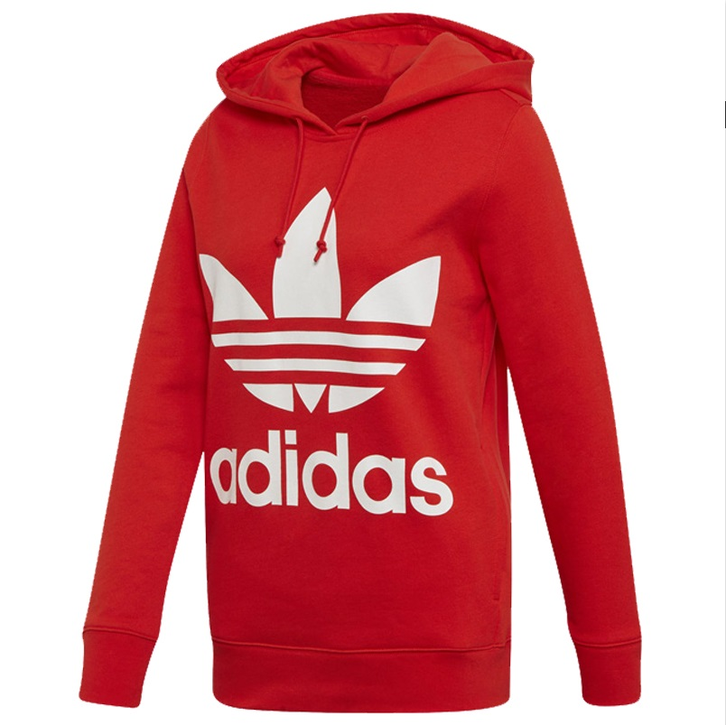 Adidas Womens V-Day Trefoil Hoodie Red FH8563...