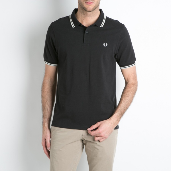 Original Mens Fred Perry Polo Tshirt UK FP Polo Shirt Black/White