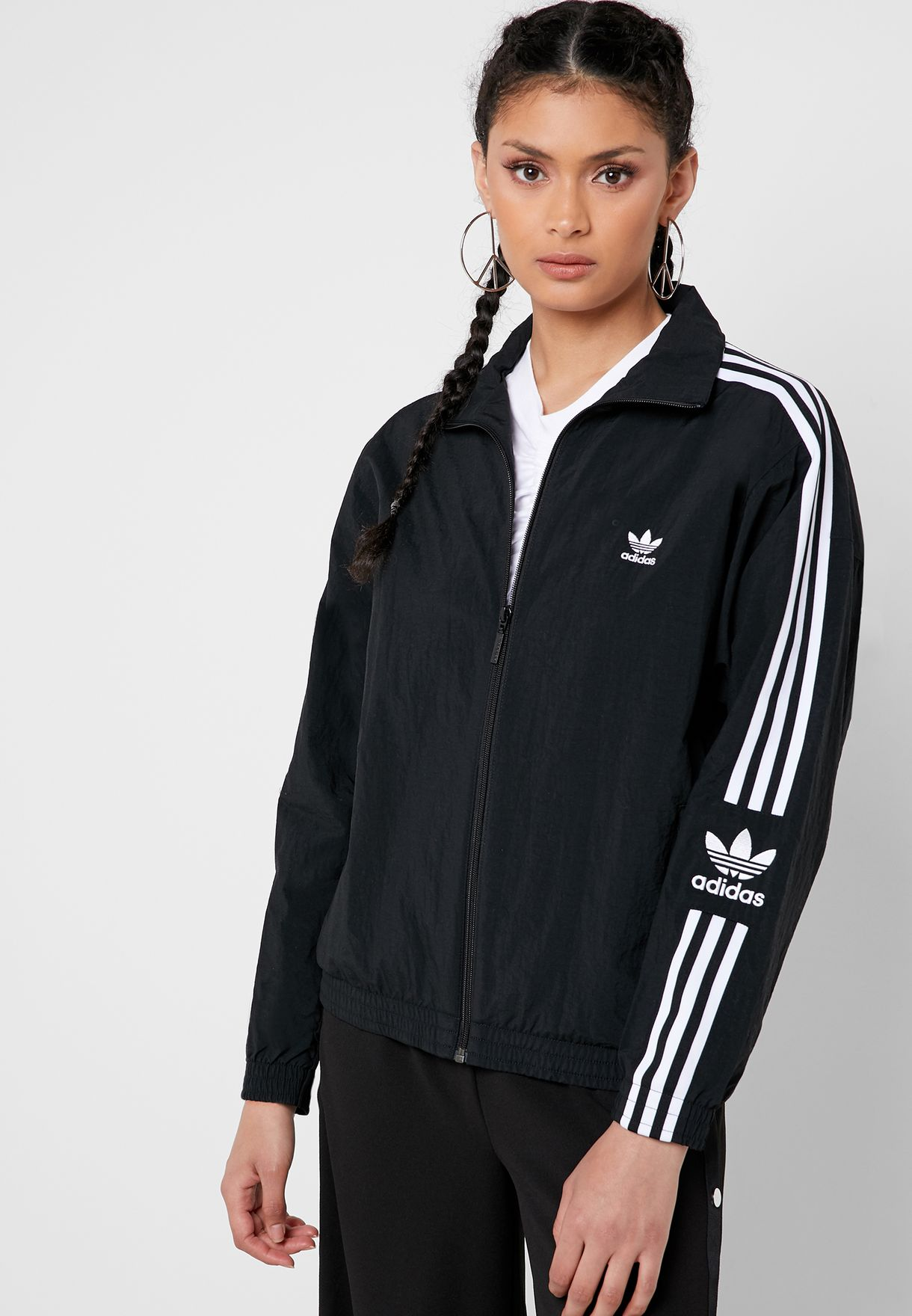 Adidas Original Womens Track Jacket ED7538 Black Three Stripes Lock Up TT Jacket
