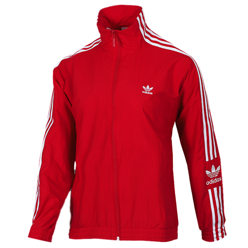 Adidas Original Womens Track Jacket ED7539 Red Three Stripes Lock Up TT Jacket