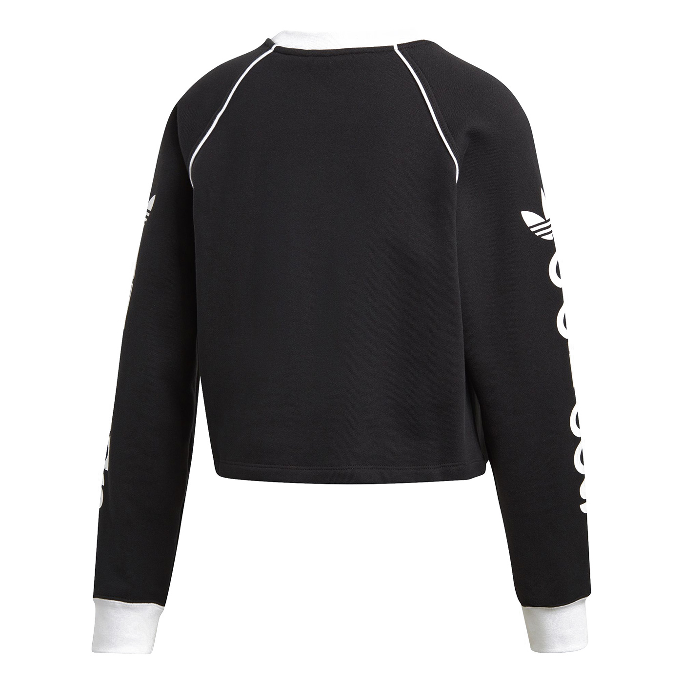 Adidas Sweatershirt Long Sleeve Womens DH4714 Crewneck Trefoil Cropped Sweatershirt