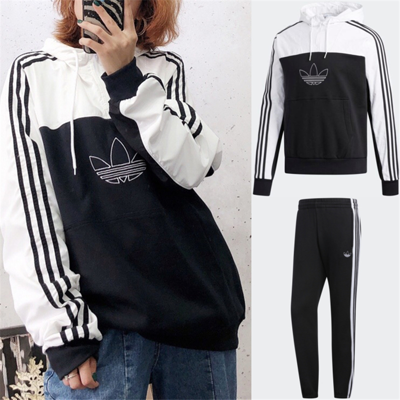 Adidas Original Mixed Hoodie Tracksuit ED6239 Sweatershirt With Pants ED6255 Black Jogger Pants Grey ED6258 Grey Pants