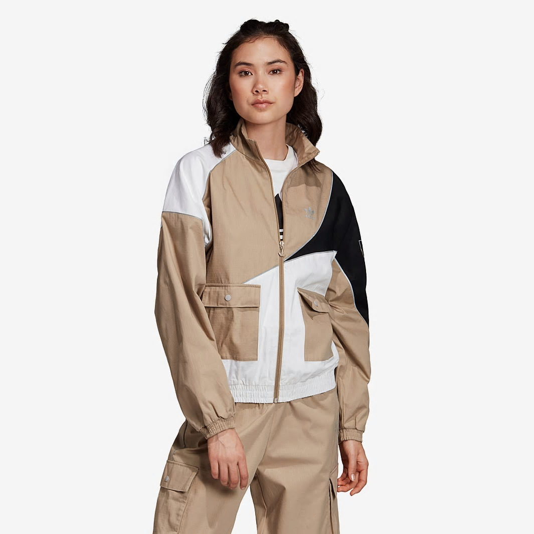 Adidas Original Reflector Track Top FR0560 Jacket With Pants FR0568 Cargo Pants Full Set Brown Tracksuit