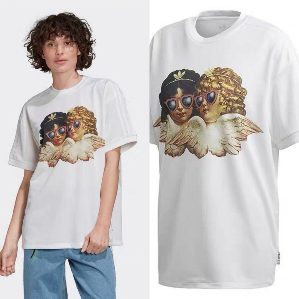 Adidas Womens Fiorucci Angels T-Shirt FL4139 White Fiorucci Graphic Tee Yellow FL4141 Tees C