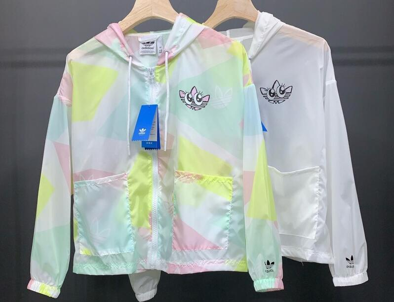 WOMEN ORIGINALS Adidas Graphic Sunscreen Windbreaker GK4980 White Jacket SUPER-SWEET LOOK Hoody C