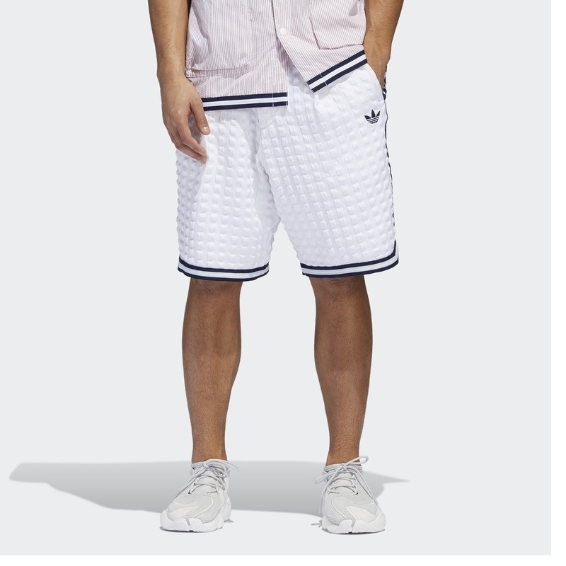 Original Adidas Mens Banyan Checkers Shorts DV3111 White Shorts  DV3112 Navy Summer Pants C