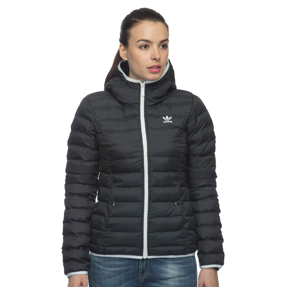Adidas Womens Slim Padded Hooded Jacket Black M30410 Mont Slim Pad HD Bayan Jacket