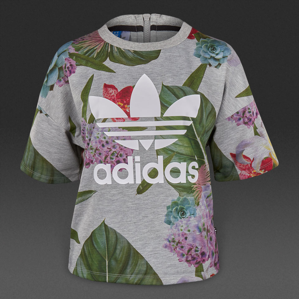Adidas Womens Originals Training Box Tees AJ8889 Floral Boxy Tees