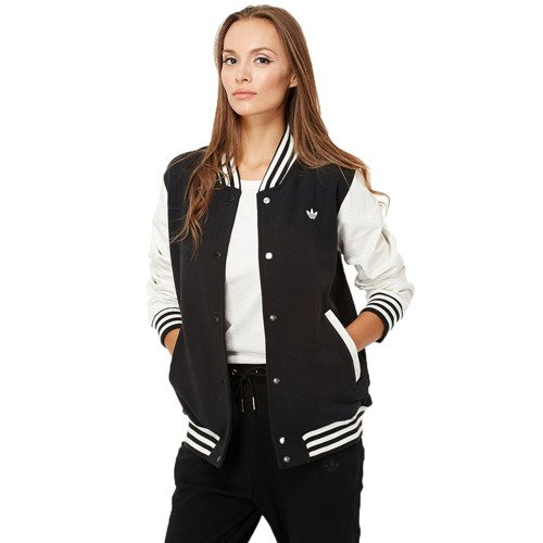 Adidas Style Varsity Jacket M69797 Leather Sleeve Trefoil Logo JACKET
