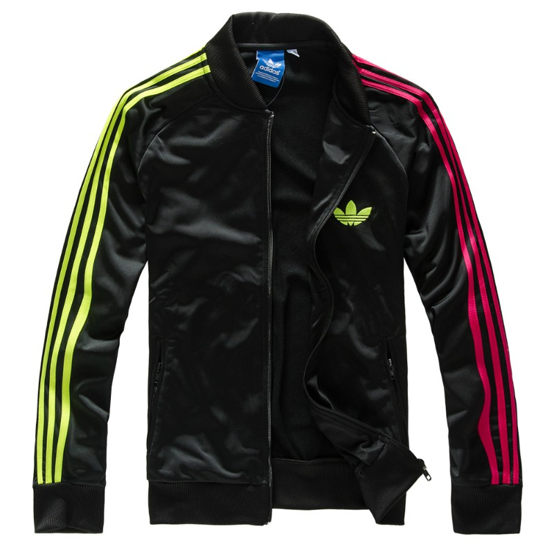 Original Adidas Mens Authentic Sports Track Top Firebird Jacket Black/Colorful Trefoil Coat