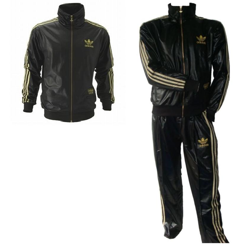 Adidas Chile 62 Rare Tracksuit Jacket Wetlook Shiny Black/Gold Suit